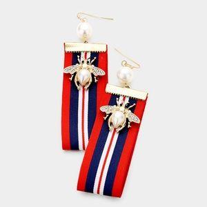 Jewelry - Pearl Honey Bee Grosgrain Ribbon Earrings